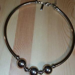 WHBM Silver, Triple Silver Bead Choker Necklace